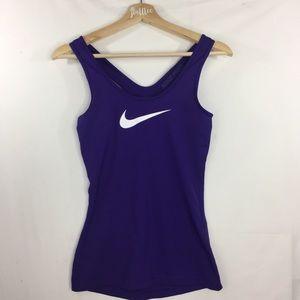 Nike Pro Racerback Workout Tank Top Purple Swoosh